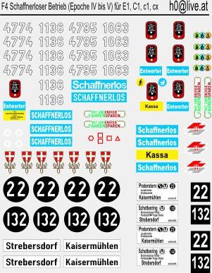 Decals Neubauwagen Schaffnerloser Betrieb (Epoche IV bis EPOCHE V) für die Wagen , E1, C1, c1, c2,