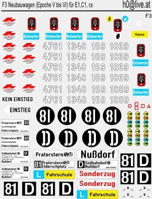 Decals Neubauwagen (Epoche V bis EPOCHE VI) für die Wagen E1,C1, c1 und c3 H0 1:87