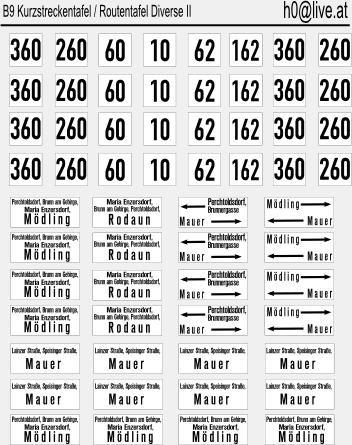 Decals Routentafeln H0 1:87