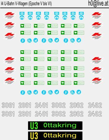 Decals U-Bahn V-Wagen H0 1:87