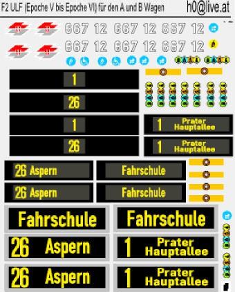 Decals ULF (Epoche V bis Epoche VI) für den A und B Wagen H0 1:87